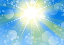 Porträthintergrund des blauen Grüns mit starburst Licht und bokeh Stockbild