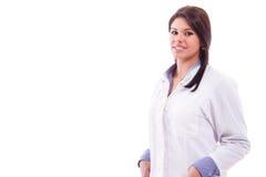 Porträtkrankenschwesterfrau in der weißen Robe Stockbild