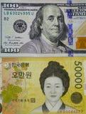 Porträts auf Banknoten Lizenzfreie Stockfotos