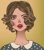 Porträts der jungen Frau lizenzfreie abbildung