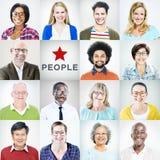 Porträts von multiethnischen verschiedenen bunten Leuten stockbilder