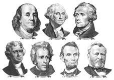 Porträts von Präsidenten und von Politikern von den Dollar Lizenzfreie Stockfotografie