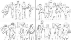 Porträts von Sportleuten in einer Turnhalle Stockfotos