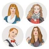 Porträts von vier Frauen stock abbildung