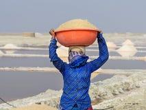 Portr?t des tragenden Beckens der indischen Frau mit Salz auf ihrem Kopf auf Sambhar Salt Lake Rajasthan Indien stockfoto