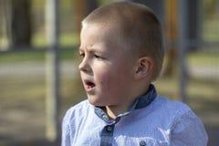 Portr?t eines litte blonden Jungen auf Spielplatz lizenzfreie stockfotografie