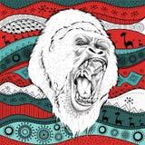 Portra Gorillas des Handabgehobenen betrages auf afrikanischem Muster ethno des Handabgehobenen betrages, Stammes- Hintergrund Au Stockfoto