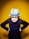 Portrai émotif en gros plan de garçon expressif roux d'élève du cours préparatoire photo libre de droits