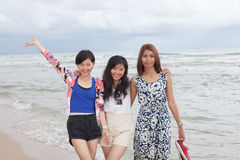 Portrai of asian woman friend group relaxing cacation on sea bea Royalty Free Stock Photography