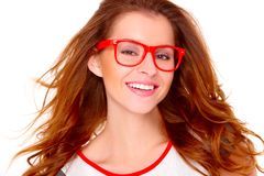 Portraif of young woman wearing glasses on white Royalty Free Stock Photos