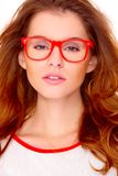 Portraif of young woman wearing glasses on white Royalty Free Stock Photography