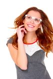 Portraif of young woman wearing glasses on white Stock Photos