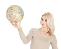 Portrail of beautiful woman holding a globe Stock Images