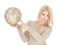 Portrail of beautiful woman holding a globe Stock Image