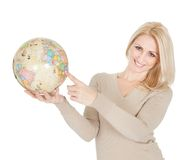 Portrail of beautiful woman holding a globe Stock Photos