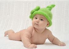 Portrain of adorable baby in funny hat Royalty Free Stock Photography