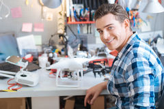 Portrain of handsome man working with drone Royalty Free Stock Photos