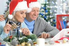 Portraint av gulliga pensionärer som förbereder sig för jul arkivfoto