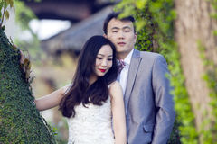 Portraint chinês do casamento dos pares na frente das árvores velhas e da construção velha Fotos de Stock Royalty Free