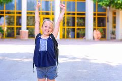 Portrair Happy smiling kid Back to school. stock image
