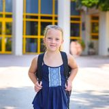 Portrair Happy smiling kid Back to school. royalty free stock image