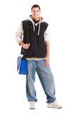 Portrair of hip-hop man with blue bag Royalty Free Stock Photography