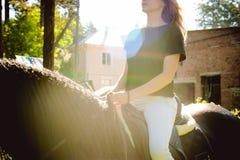 Portrait émotif d'une femelle dans l'amour avec des chevaux, animal familier frison noir de pur sang d'étalon Photographie stock