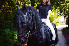 Portrait émotif d'une femme de cavalier d'amazone, animal familier frison noir de pur sang d'étalon Photographie stock