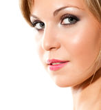 Portrait. Closeup portrait of blond beautiful woman isolated on white royalty free stock photos