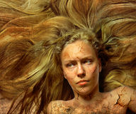 Portrait. Of a girl with splintered face Stock Photos