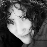 Portrait. Black & white close-up portrait young woman Stock Images