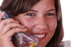 Portrait. Young girl portrait, talking on the telephone Stock Photos