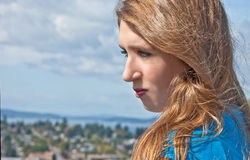 Portrait of 17 Year Old Teen Girl Side View Stock Photo