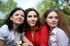 Portrait. Of friends outdoors in the summer together Stock Image