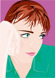 Portrait. Vector portrait of young girl with green eyes Stock Image
