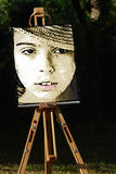 Portrait. Paint portrait on the stand Royalty Free Stock Photos