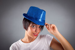 Portrait. Of beautiful girl with hat Royalty Free Stock Photography