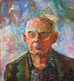 Portrait. Of an old man. Canvas, oil-paint Royalty Free Stock Photos