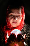 Portrait. Woman holding a crystal ball Royalty Free Stock Photography
