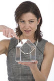 Portrait of 40s woman with a transparent house Stock Images