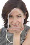 Portrait of 40s woman with a transparent house Stock Photo