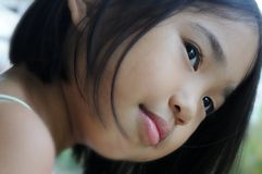 Portrait. Cute little asian girl emotion look Royalty Free Stock Images