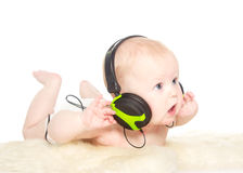 Portrait of 6 month old boy with headphones Royalty Free Stock Image
