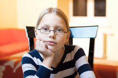 Portrait of 9-10 years old schoolgirl Royalty Free Stock Photography
