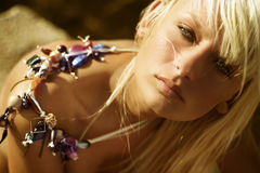 Portrait. Of beautiful blonde with jewelery stock photos