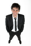 Portrait from above. Portrait of a young positive and smiling business man from above Royalty Free Stock Photos