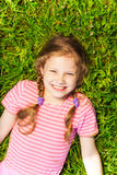 Portrait from above of smiling cute girl Stock Images