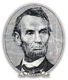 Portrait of Abraham Lincoln. Portrait of Abraham Lincoln on 5 us dollars Royalty Free Stock Images