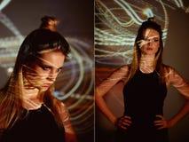 Portrait abstrait d'une belle fille à la lumière du projecteur Nuances oranges chaudes Ampoule Edison Un sentiment de photographie stock
