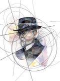 Portrait abstrait de Thomas G Masaryk, premier président de la Tchécoslovaquie image stock